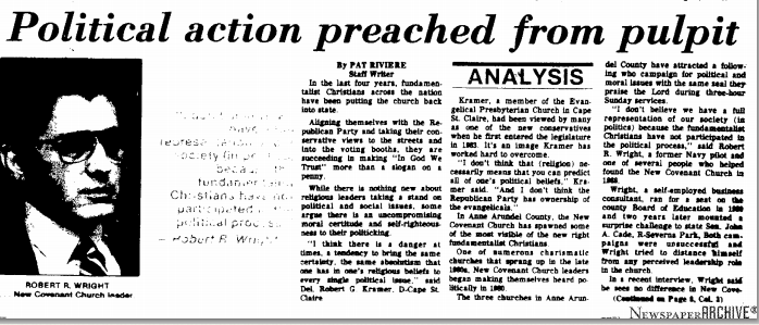 Political Action Preached from Pulpit, Annapolis Gazette, Oct 1984